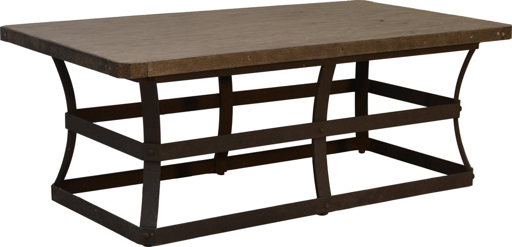 """PL-2648 26"""" x 48"""" Rect. Coffee Table base   20"""" x 42"""" x 17""""  Top - EA-2648 Erie 26"""" x 48"""" Rect.Faux Wood Top Reclaimed Barnwood"""