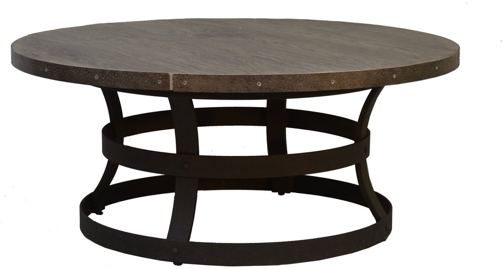 """PL-42R 42"""" Round Cofee Table Base   30"""" dia x 17""""  Top - EA-42R Erie 42"""" Round Faux Wood Top Reclaimed Barnwood"""