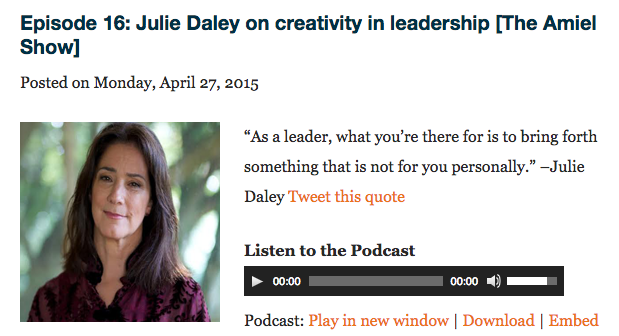 The Amiel Handlesman Podcast | Episode 16 with Julie Daley on Creativity & Leadership