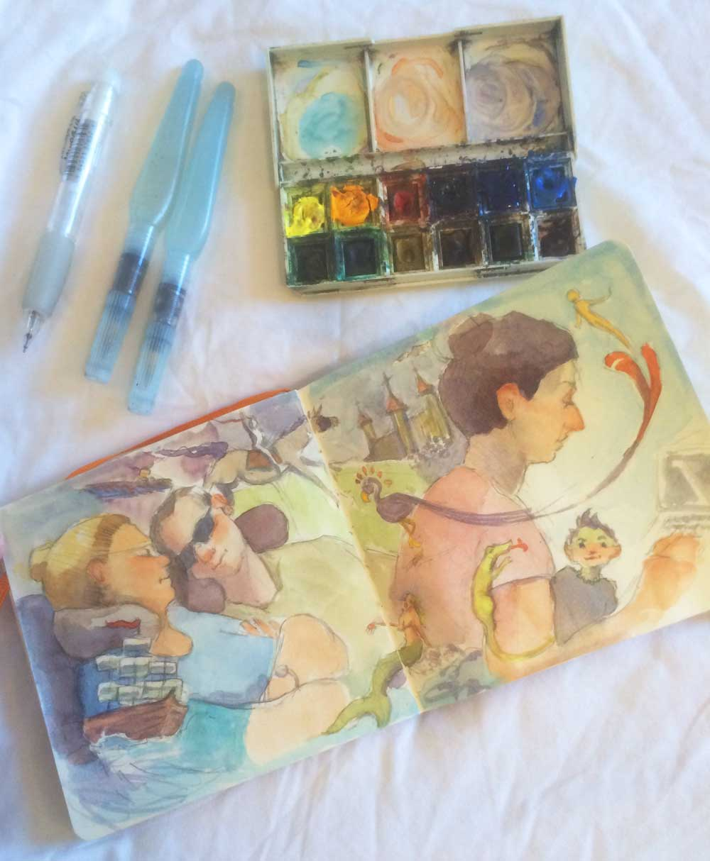 This is my watercolor kit for traveling. It's small, fits in my laptop case, and I can paint almost anywhere with it. Clockwise from top left: Sakura Sumo Grip mechanical pencil; Aquash Watercolor brush; Windsor Newton travel paint box; Handbook Artist Journal (5.5″ x 5.5″).