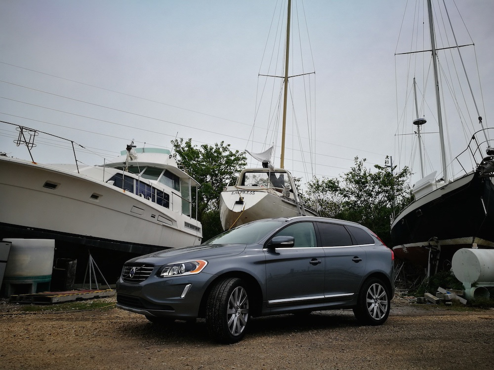 "Empress up ""on the hard"" in Driftwood Marina, Marathon and the Volvo XC60 we were using!"