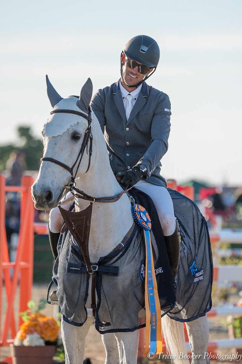 Andrew Jayne and Cartel with their first grand prix blue ribbon.