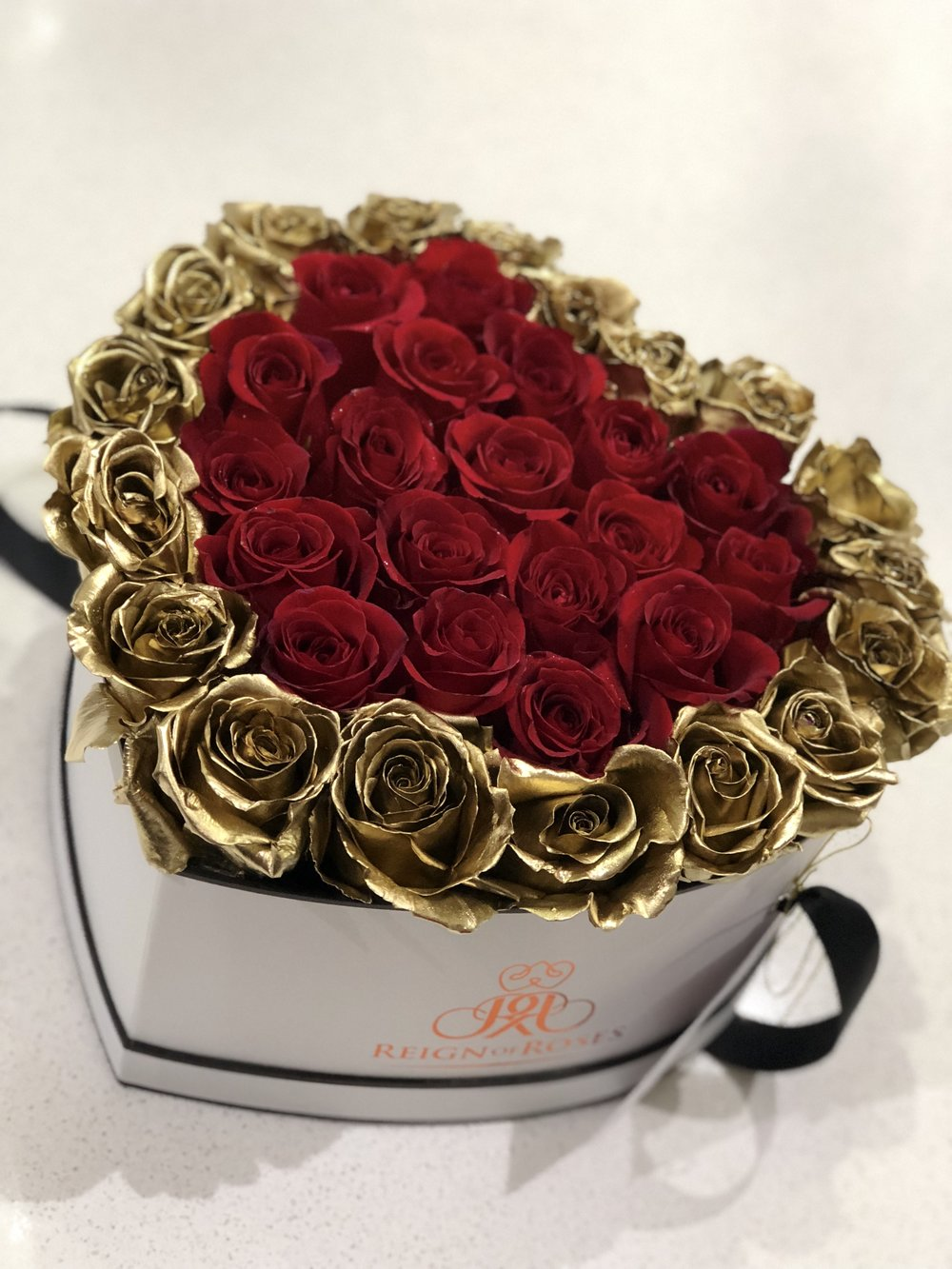 Red & Gold Heart Box 35 Roses