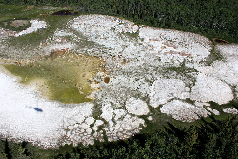 Atlin hydromagnesite-magnesite playas, viewed from a helicopter