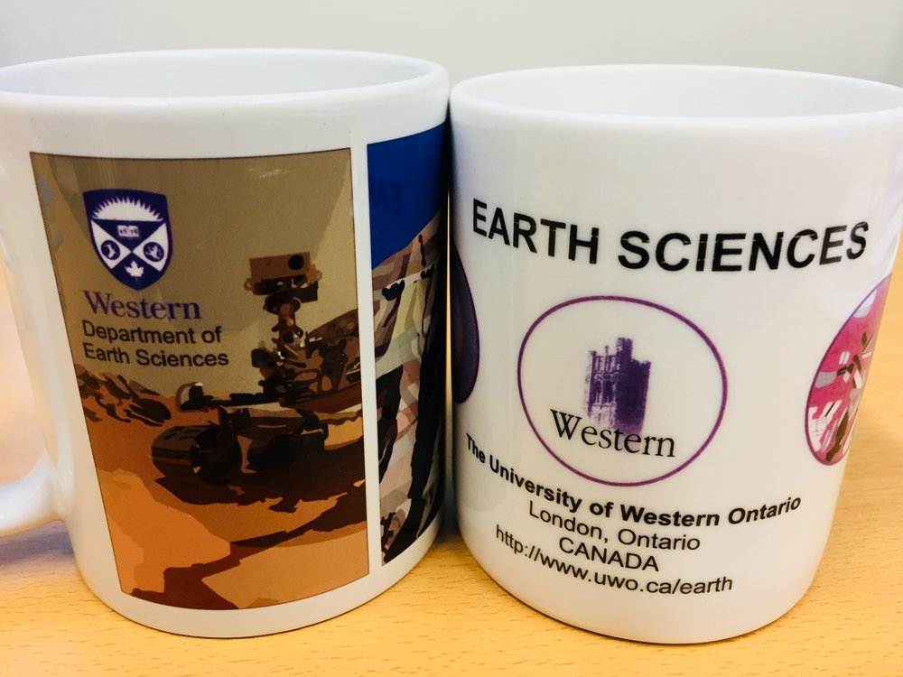 Present and past Western Earth Sciences mugs.