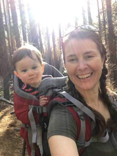 Momma and G on the trail near Crescent Lake, Oregon. October 2016