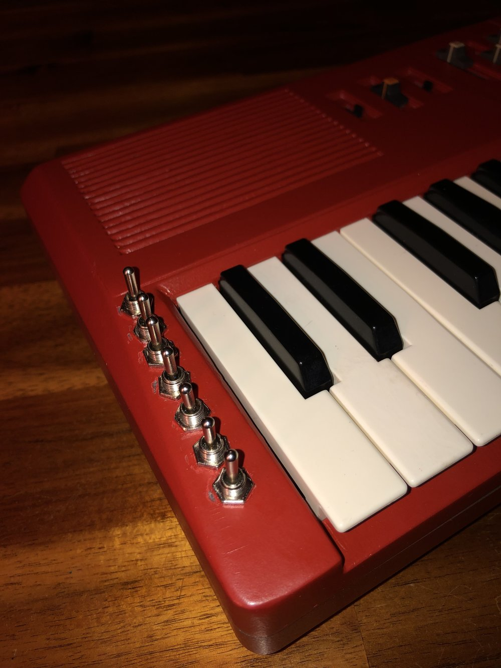 Toggle switches on circuit bent Casio MT-68