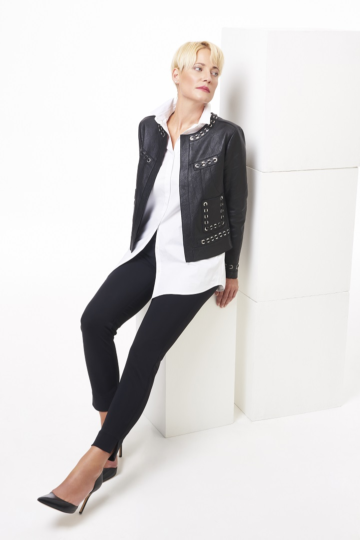 Black+leather+jacket+with+grommets,+white+long+button+down,+black+pull-on+pants,+full+length.jpg