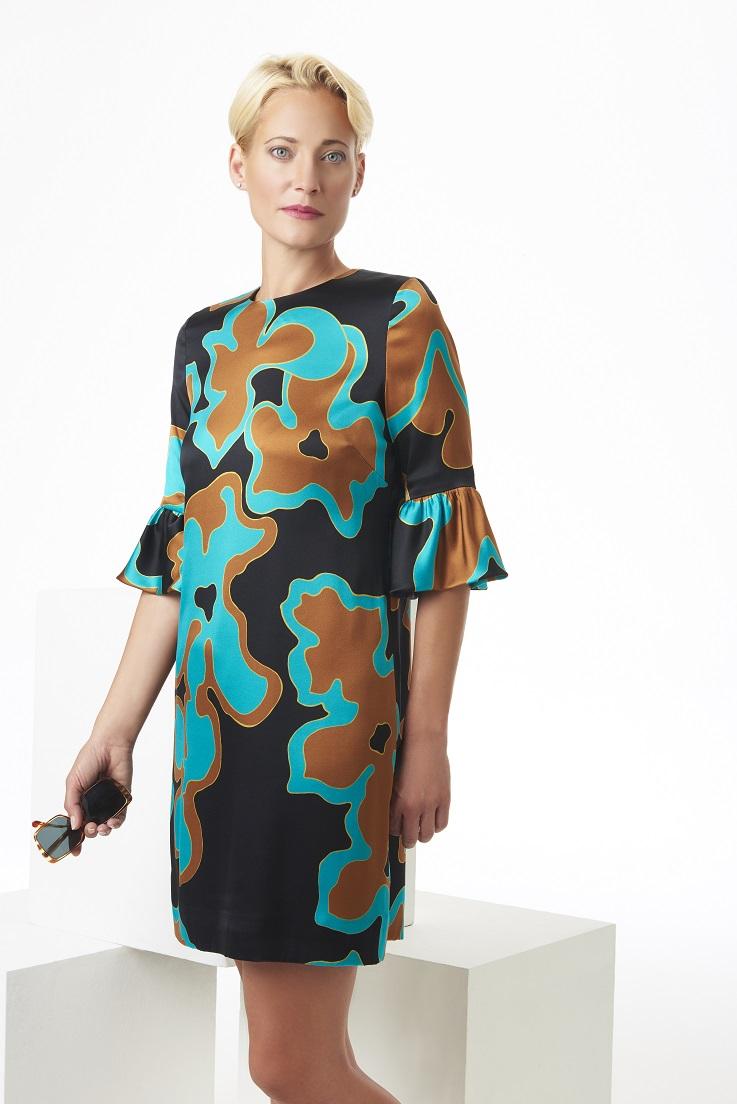 Satin+silk+teal,+brown,+and+black+ruffle+dress.jpg