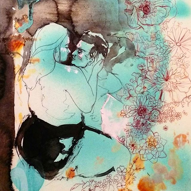 Inktober day 26! Finally got a new sketchbook! Credit to @wolfnrosephotos for the beautiful ref and inspiration! . . . . . . . #inktober #ink #mixedmedia #spraypaint #pen #ballpointpen #flowers #red #blackink #people #curvy #love #beautiful #delightfulart #drawingartandanatomy #anatomy #lines #messy #illustration #art #sketchbook #sketch #drawing #contrast #pop #couples #splatter #guache #texture #composition