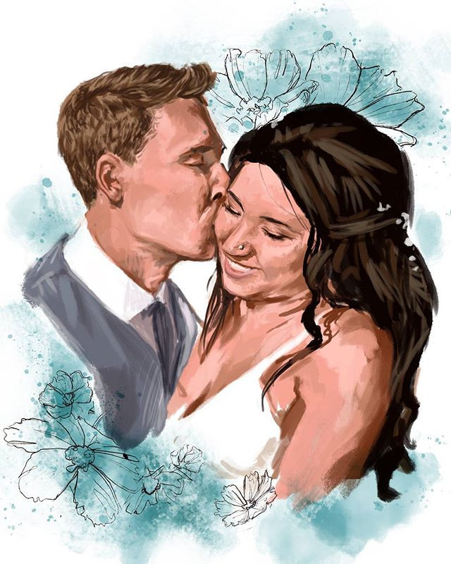 A portrait of my beautiful cousin @annikajraithby on her wedding day. I hope you two are as happy as you were on your wedding day! . . . . . . #art #illustration #digitalpainting #sketchbook #sketch #drawing #painting #paint #portrait #face #wedding #happy #couple #love #cute #delightfulart #duendeartshelp #drawingartandanatomy