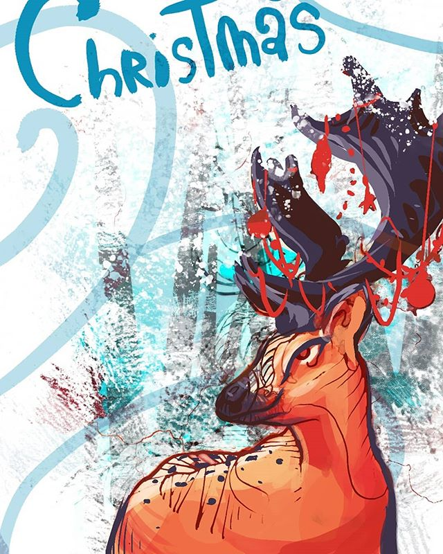 Instagram cropped out the merry but Merry Christmas to everyone! I hope it's wonderful! . . . . . . #Christmas #merrychristmas #reindeer #snow #merry #love #decorations #digital