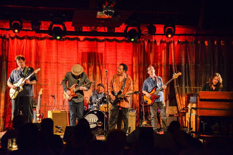"Evanston SPACE L-R Dave Specter, Will Tilson, Kenny ""Beedy Eyes"" Smith, Jimmy Johnson, Harlan Terson, and ""Brother John"" Kattke Photo by Harvey Tillis"