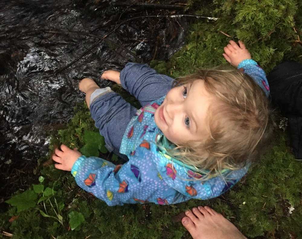 "Penelope takes a ""foot plunge"" on our trip to Mt. Rainier in between mom's cold plunges."