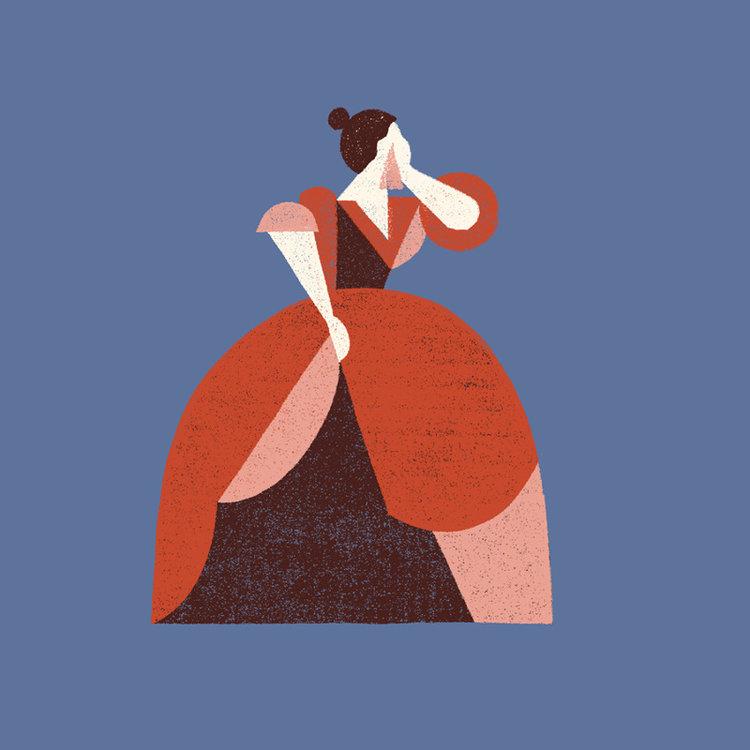 Illustration by  Cecilia Ruiz entitled, Weeping Woman