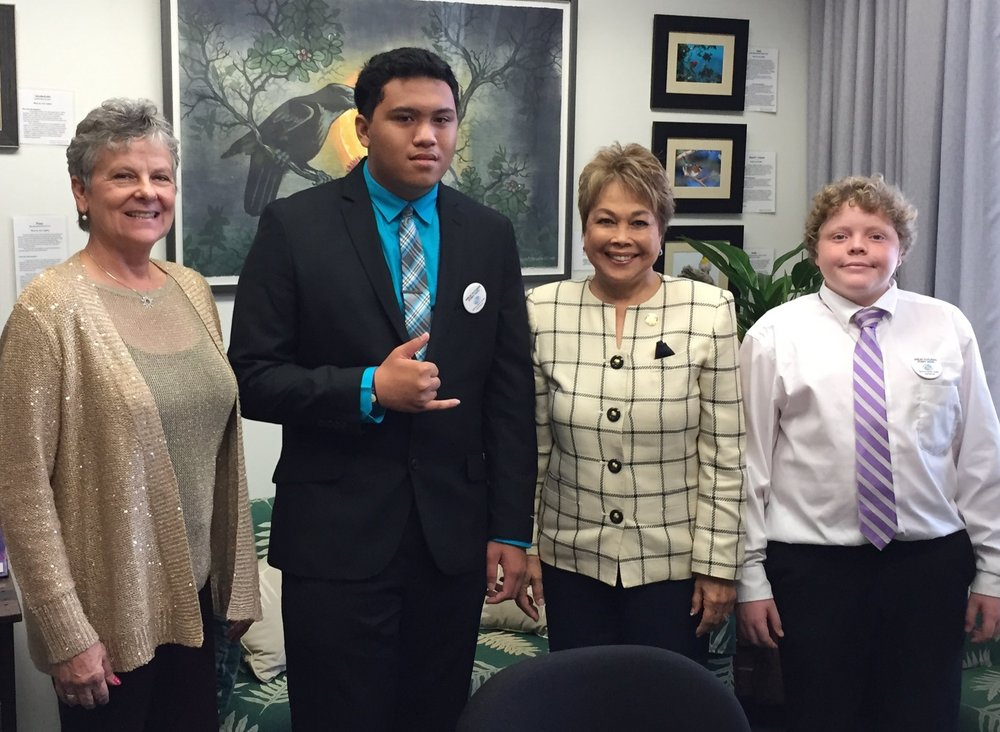 Youth of the Year participants Tyler Nahinu and Elisha Stutes gain insight and understanding from meeting with Representative Evans and Senator Inouye.