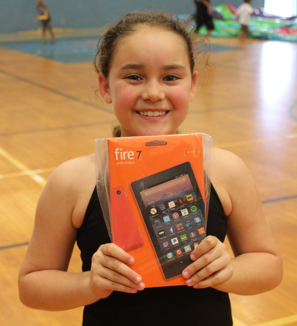 Thrilled tablet winner.
