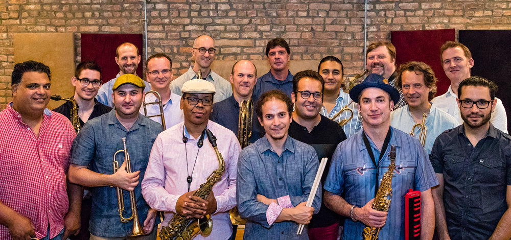 Dafnis Prieto Big Band (L to R). Front row: Roberto Quintero, Josh Deutsch, Roman Filiu, Dafnis Prieto, Peter Apfelbaum, Ricky Rodriguez. Middle row: Michael Thomas, Tim Albright, Jeff Nelson, Manuel Valera, Mike Rodriguez, Alex Sipiagin. Back row: Nathan Eklund, Alan Ferber, Chris Cheek, Joel Frahm, Jacob Garchik. DPBB Photos by David Garten.