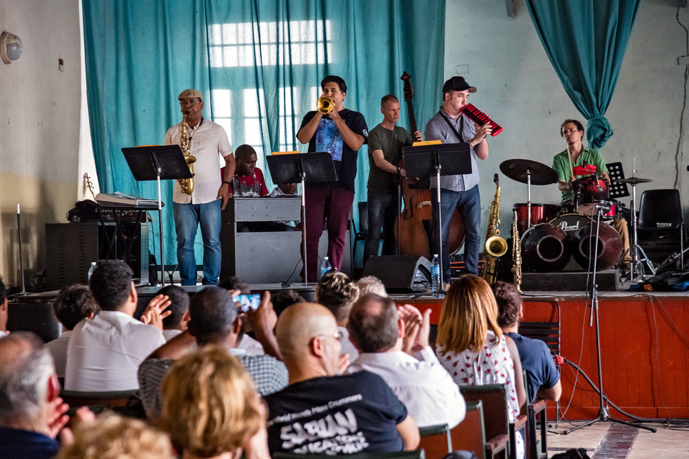 Dafnis Prieto Sextet master class at Amadeo Roldan Conservatory, Havana, Cuba, January 2019 (Photo by David Garten)