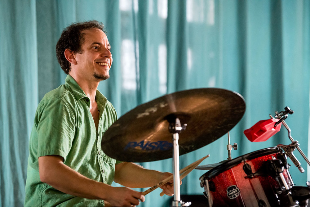 Dafnis Prieto at Dafnis Prieto Sextet master class at Amadeo Roldan Conservatory, Havana, Cuba, January 2019 (Photo by David Garten)