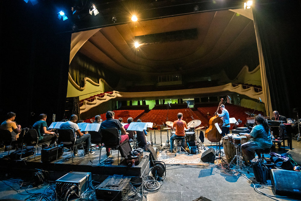 Dafnis Prieto Big Band soundcheck at Teatro Mella, Havana, Cuba, January 2019 (Photo by David Garten)