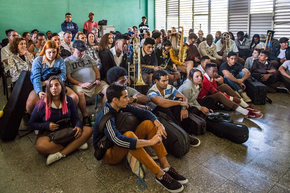 Students at Escuela Nacional de Arte (La ENA) prior to Dafnis Prieto Sextet master class, Havana, Cuba, January 2019 (Photo by David Garten)
