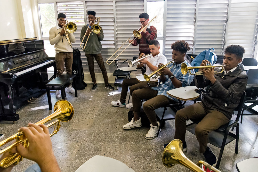 Brass students at Escuela Nacional de Arte (La ENA), Havana, Cuba, January 2019 (Photo by David Garten)