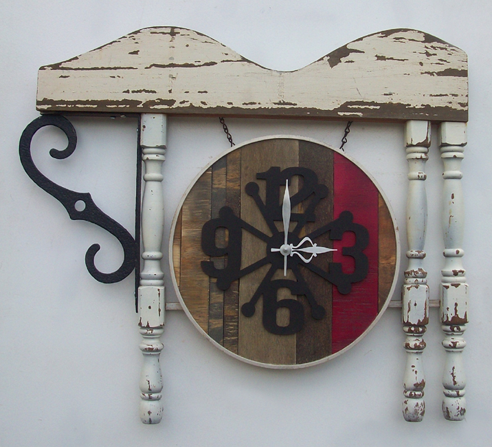 clock made of found objects