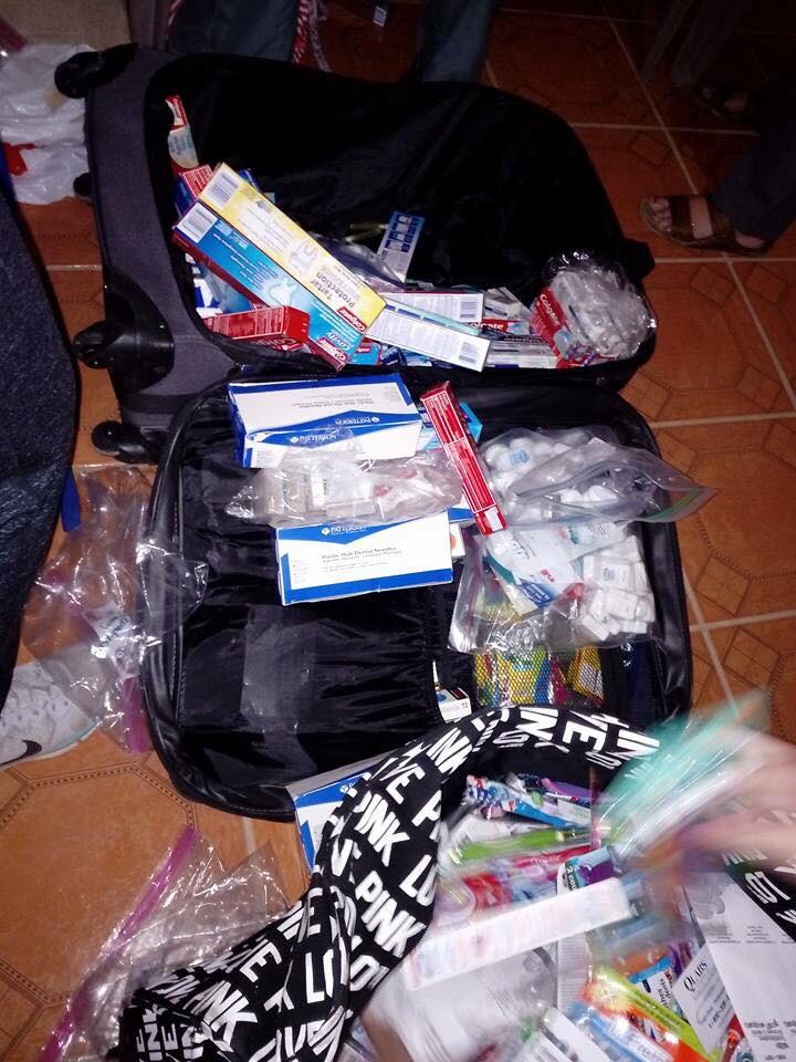 the dental supplies that were donated for the patients and children.