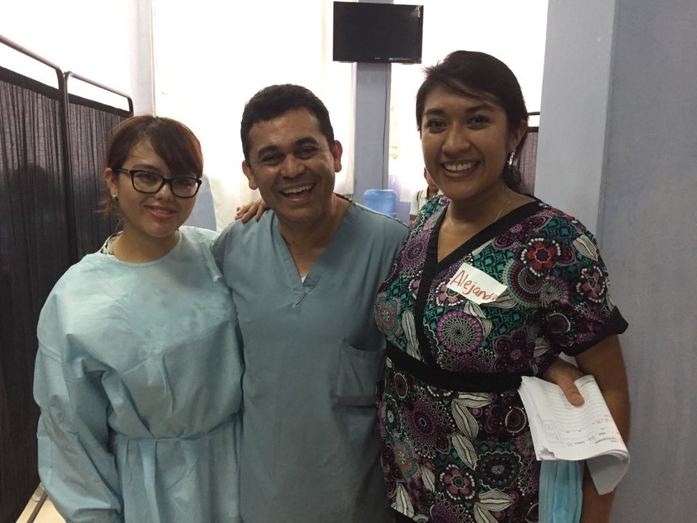 Dr. Coronado with Jessica Alvarez (left) a dental student, and Dr. Alejandra Cermeno (right).