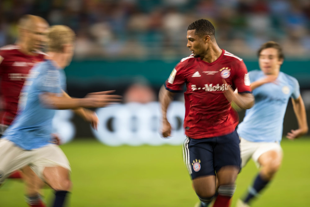 Bayern Munich's Serge Gnabry charges forward in an International Champions Cup match against Manchester City at Hard Rock Stadium in Miami Gardens on Saturday, July 28, 2018.