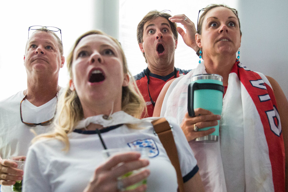 Fans watch a World Cup semifinal between England and Croatia during a watch party at the Wharf Miami on Wednesday, July 11, 2018.