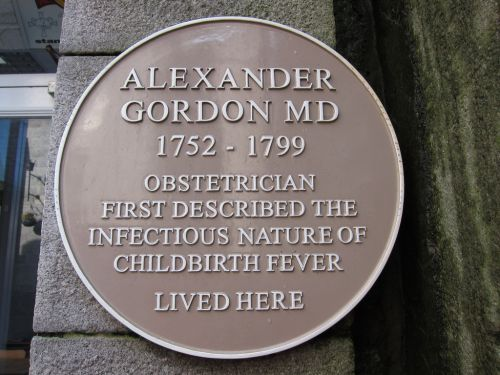 This plaque hangs outside the former home of Alexander Gordon, 18 Belmont St, Aberdeen, Scotland.