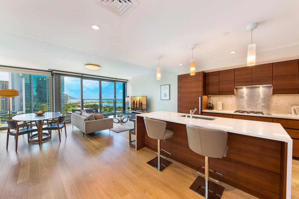 2 BDS LUXURY ON THE 13TH FLOOR   /$7,500  FULLY FURNISHED  /  2 BEDROOMS  /  2 FULL BATHS / 1,244 sq. ft. / Hawaii State License#: GE-145-165-6192-01
