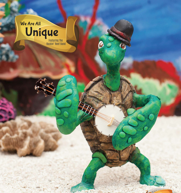The banjo-playing turtle from The Rockin Reef Band, designed by incredible artist Matzilla Duron