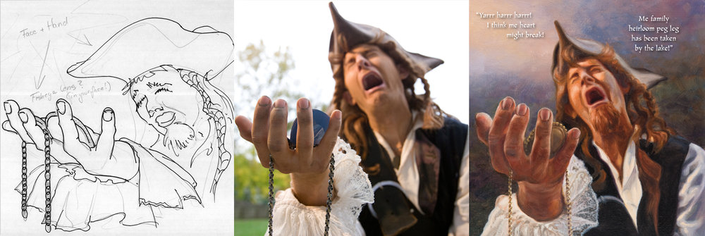 Robert Sams poses as a pirate for the book A Pirate's Quest.