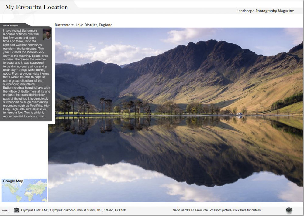 a picture of Buttermere of mine featured in the favourite location section of Landscape Photography magazine -