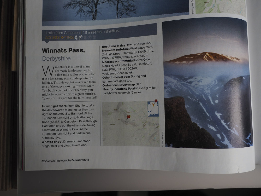 A feature in Outdoor Photography magazine...a view from the cliff of winnats pass looking up at a misty mam tor -