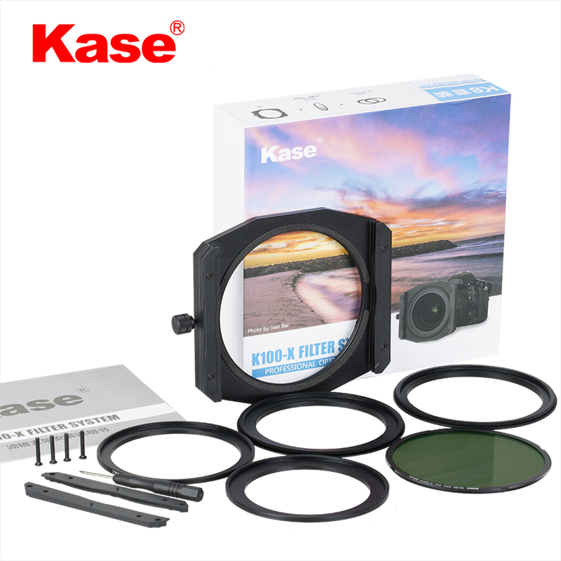 Kase /K6 Filter Holder kit K100-X filter system - This comprises of:· K100-X filter holder· geared adapter rings 77-86mm & 82-86mm· step rings 67-82mm and 72-82mm· 86mm sky eye X-CPL polarizing filter· extra slots that can make the 2 filterholder into a 3 filter holder· Screw driver to do this and spare light sealing gasket