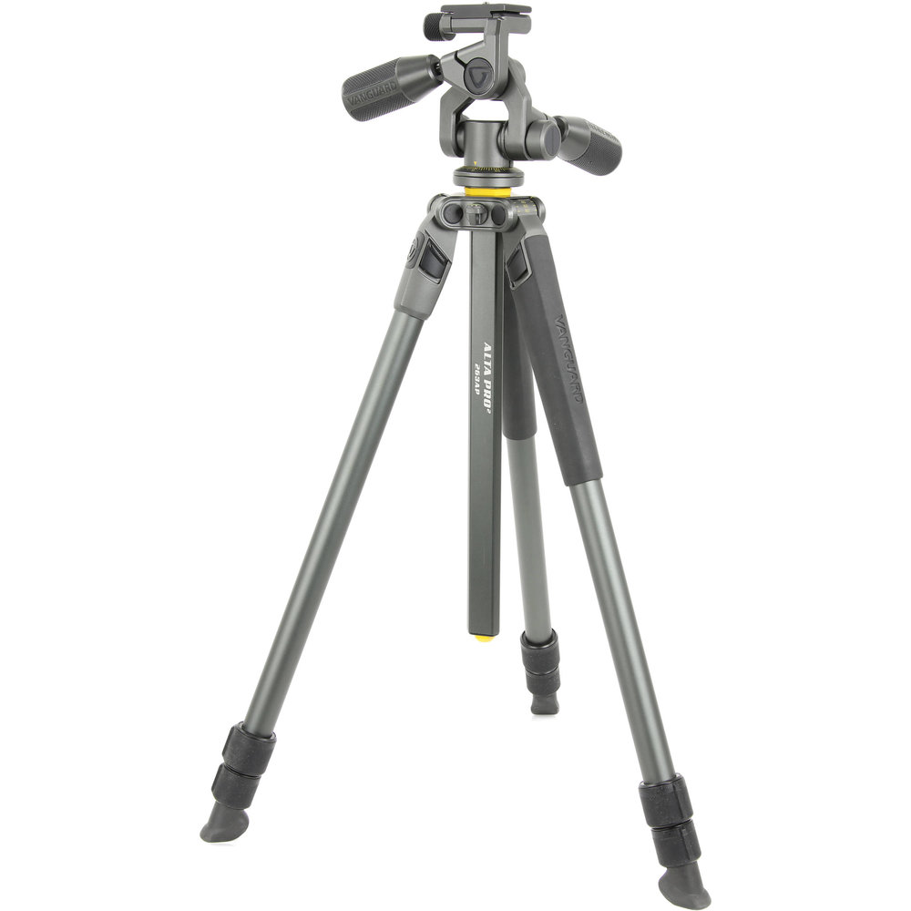 - Briefly:· Aluminium tripod with 3 way pan head· Quick release arca type head·  3 section legs with multi angle positioning·  Twist lock legs·  Max load 5kg·  Max height 68.9 inches·  Weight 2.5kg·  Unique multi-angle centre column