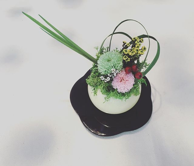 Wagashi arrangement: one day lesson. #生徒様作品  #preservedflower #プリザーブドフラワー #保鮮花 #永生花 #flowerlesson #flowerlovers #保鮮花工作坊 #香港 #香港習い事 #香港手作 #hongkong #tungchung #東涌 #hkig #ighk