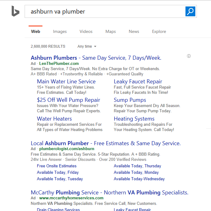 Search advertising results in Bing.