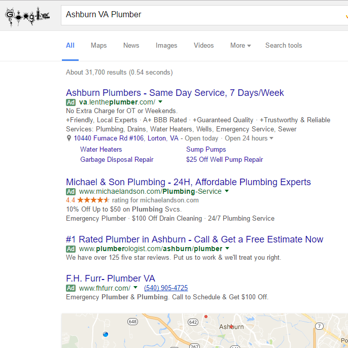 Search advertising results in Google.
