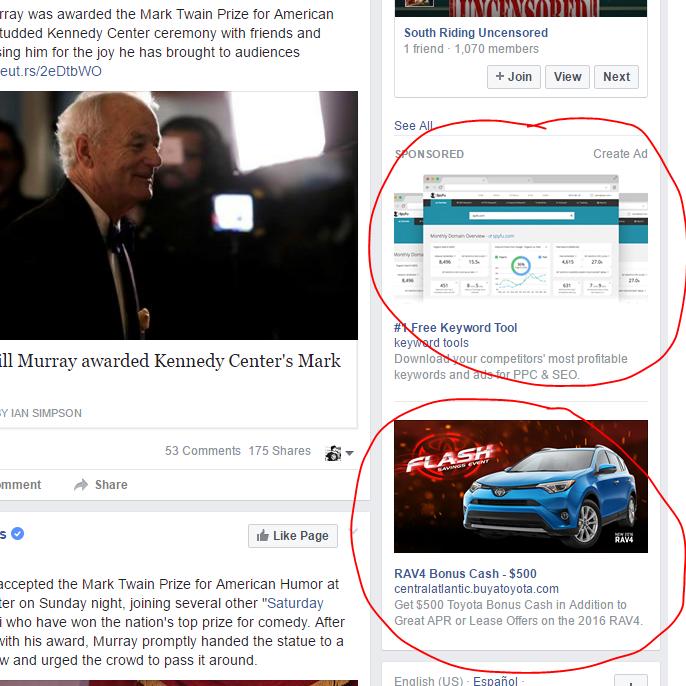 Facebook advertisements.