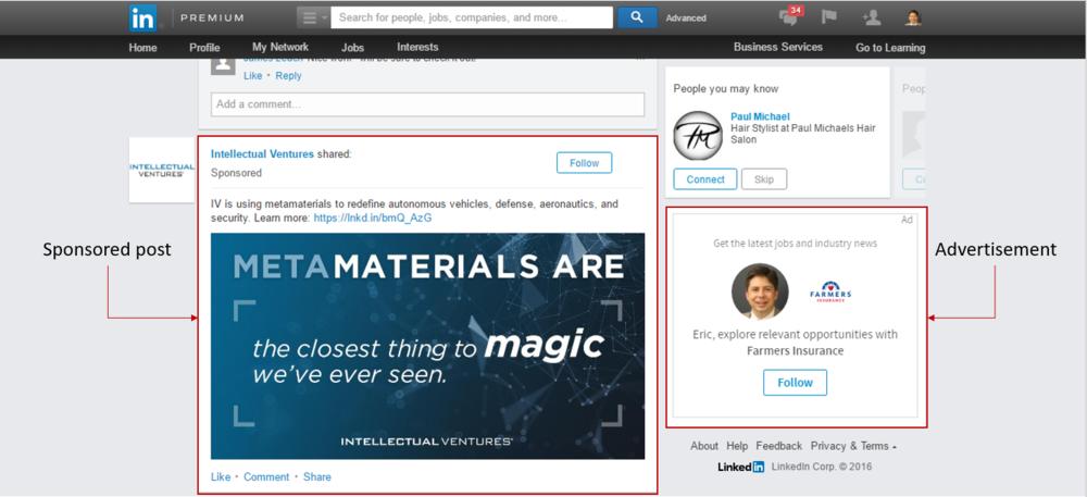 LinkedIn ads and sponsored posts.