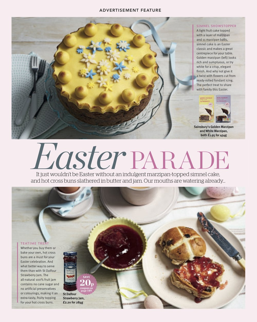Publication: Sainsbury's magazine, March 2018  Photographer: Vinnie Whiteman  Art Direction and props styling: Sainsbury's advertorial/commercial team