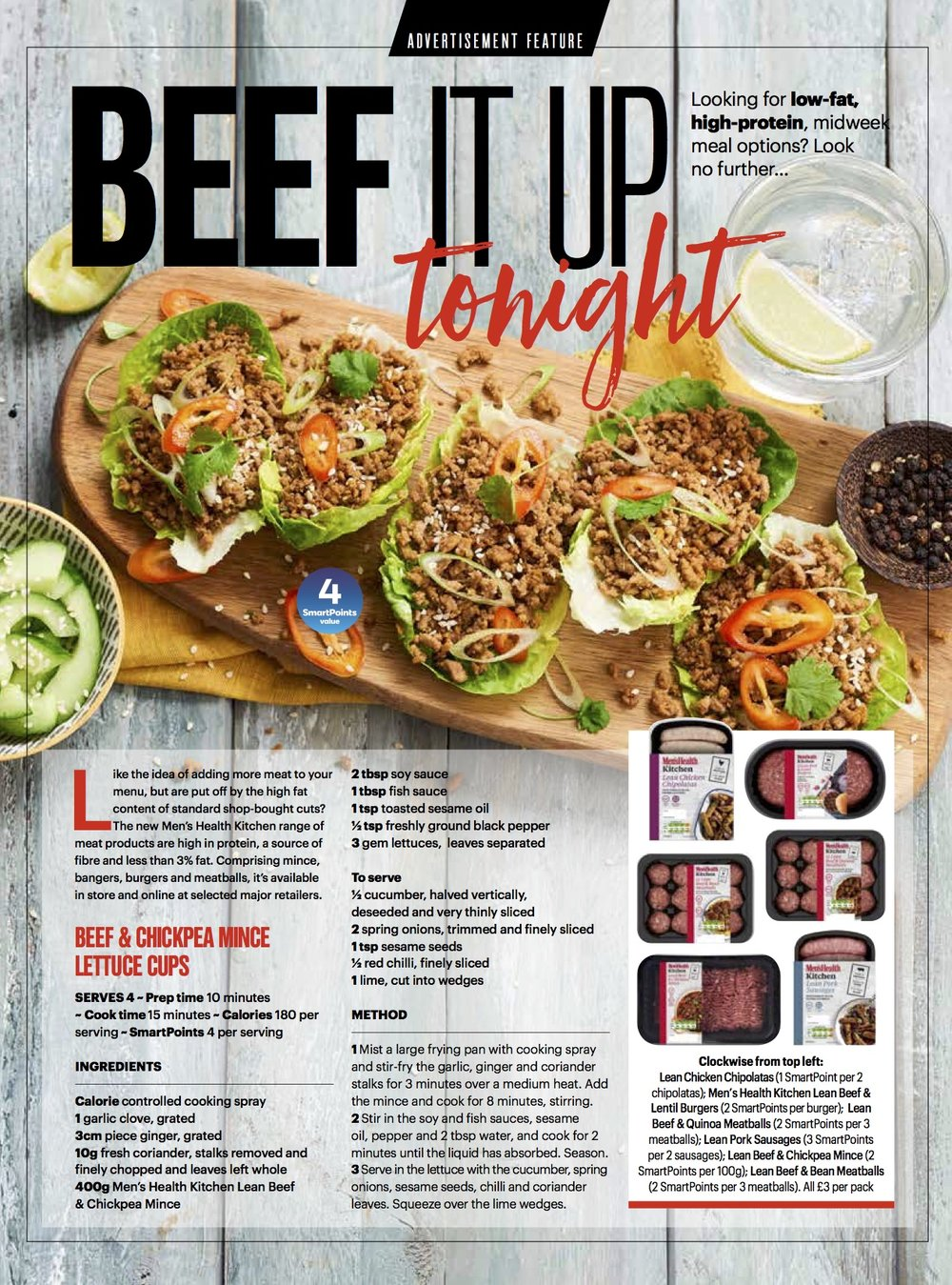 Publication: Weight Watchers magazine May, 2018  Photographer: Clare Miller  Food stylist: Megan Davies  Props and Art direction: Weight Watchers advertorial team