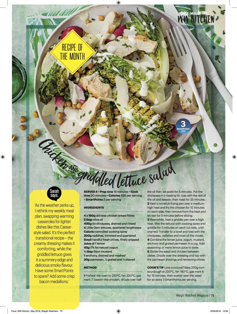 Publication: Weight Watchers magazine May 2018  Photographer: Ant Duncan  Food stylist: Ella Tarn  Prop stylist: Tonia Shuttleworth