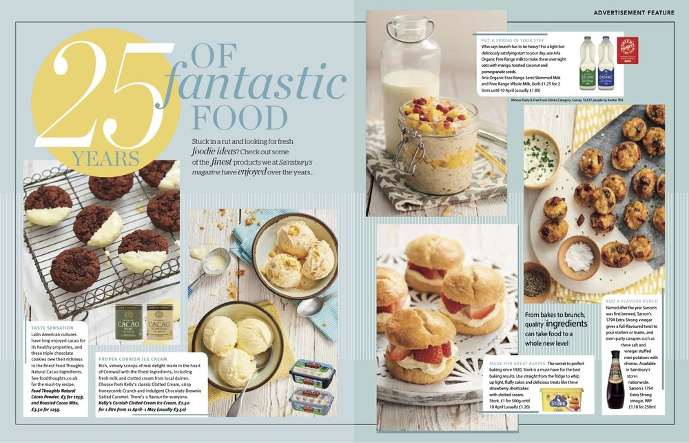 Publication: Sainsbury's magazine, April 2018  Photographer: Clare Miller  Art Direction and props styling: Sainsbury's advertorial/commercial team