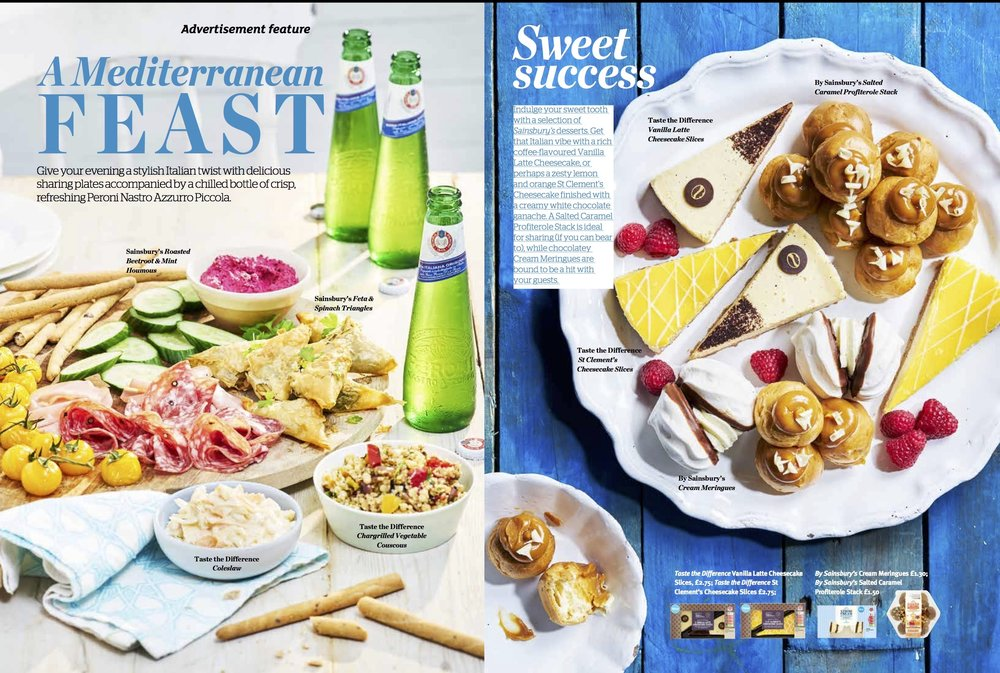 Publication: Sainsbury's magazine, August 2018  Photographer: Vinnie Whiteman  Art direction and prop styling: Sainsbury's advertorial/commercial team